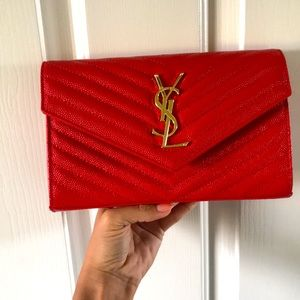 YSL Monogram Wallet on a Chain in Lipstick Red